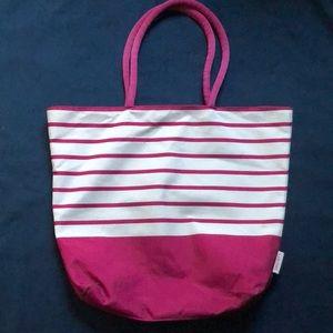 Lancome Magenta White Striped Tote Beach Bag